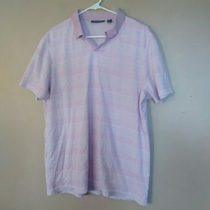 Men's Large Pink Striped Polo Shirt